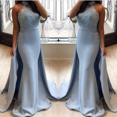 Lace Prom Dress UK With Ruffles | Mermaid Halter Long Evening Gowns_3