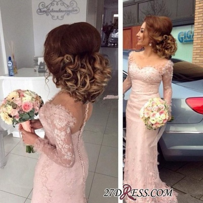 Lace Appliques Buttons Sheer Sheath Long-Sleeve Pink Prom Dress UK BA6203_1