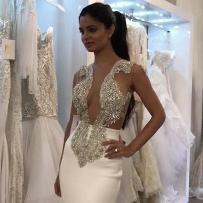 Elegant Sleeveless Wedding Dress Sexy Mermaid With Sequins Appliques On Sale BA6494_3