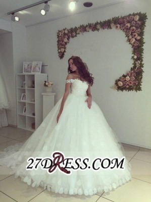 Newest Lace-up White Lace Appliques Ball-Gown Off-the-shoulder Wedding Dress_3