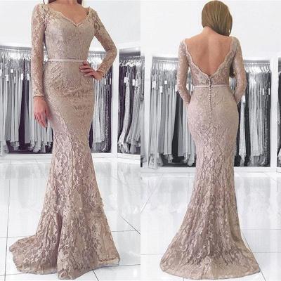 Sexy Long Sleeve V-Neck Lace Evening Dress UK Mermaid Online_4