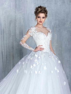 Elegant Long Sleeve White Wedding Dress tulle Ball Gown Appliques_2