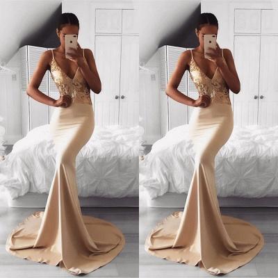 Elegant Spaghetti Strap Gold Sequined Prom Dress UK | Mermaid Prom Dress UK BA9015_3