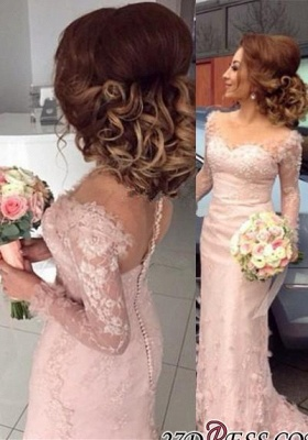Lace Appliques Buttons Sheer Sheath Long-Sleeve Pink Prom Dress UK BA6203_3