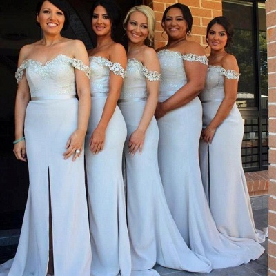 Sexy Off-the-Shoulder Mermaid Bridesmaid Dress UK Front Split Lace_4