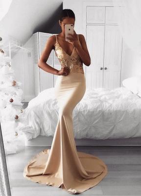 Elegant Spaghetti Strap Gold Sequined Prom Dress UK | Mermaid Prom Dress UK BA9015_1