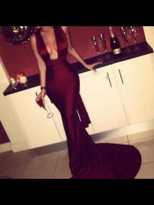 Elegant Sleeveless Mermaid Burgundy Prom Dress UK Sweep Train_2