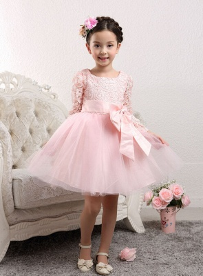 Lovely Tulle Lace Flower Girl Dress Bowknot Long Sleeve Zipper_4