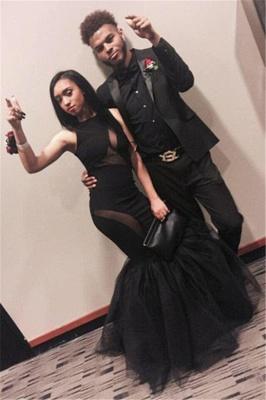 Elegant Black Sleeveless Prom Dress UKes UK Mermaid Tulle Party Gowns_1