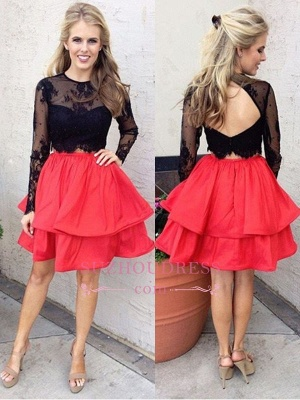 Chic Lace Black Red Two-Piece Long-Sleeves A-line Homecoming Dress UKes UK_1