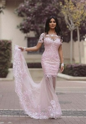 Luxury Long Sleeve Lace Appliques Evening Dress UK Mermaid Sheer Skirt Prom Gown_5
