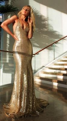 Open Back Sexy Formal Evening Dresses Cheap| Mermaid Sequins Prom Dress UK BA3586_3