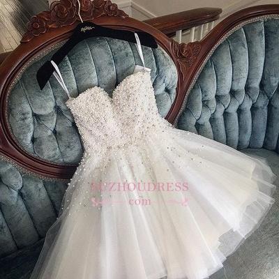 Knee-length Cute White Tulle Pearls Homecoming Dress UK BA9389_1