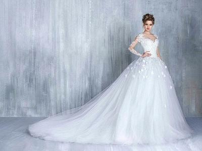 Elegant Long Sleeve White Wedding Dress tulle Ball Gown Appliques_4