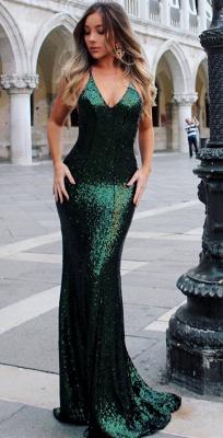 Open Back Sexy Formal Evening Dresses Cheap| Mermaid Sequins Prom Dress UK BA3586_5