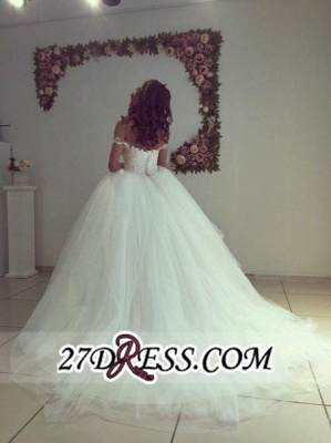Newest Lace-up White Lace Appliques Ball-Gown Off-the-shoulder Wedding Dress_2