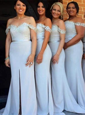Sexy Off-the-Shoulder Mermaid Bridesmaid Dress UK Front Split Lace_1