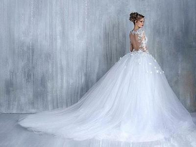 Elegant Long Sleeve White Wedding Dress tulle Ball Gown Appliques_5