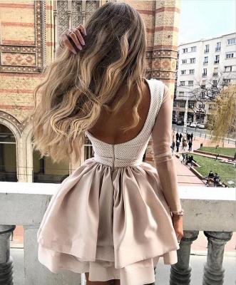 Luxury Hi-Neck Long Sleeve 2019 Homecoming Dress UK | Mini Lace Party Dress UK_3