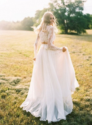 Elegant A-line Two-Piece  Long-Sleeves Lace Wedding Dresses UK_1