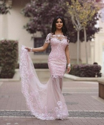 Luxury Long Sleeve Lace Appliques Evening Dress UK Mermaid Sheer Skirt Prom Gown_4