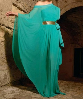 Timeless One-shoulder Long Sleeve Chiffon Prom Dress UK With Gloden Sash_1
