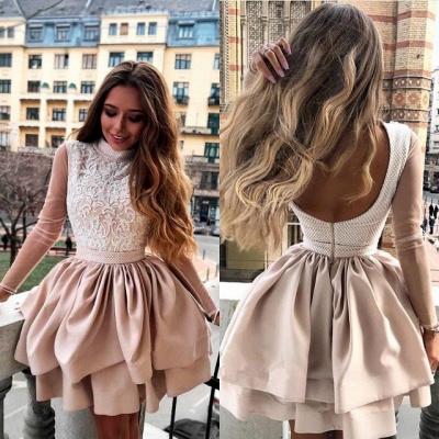 Luxury Hi-Neck Long Sleeve 2019 Homecoming Dress UK | Mini Lace Party Dress UK_4
