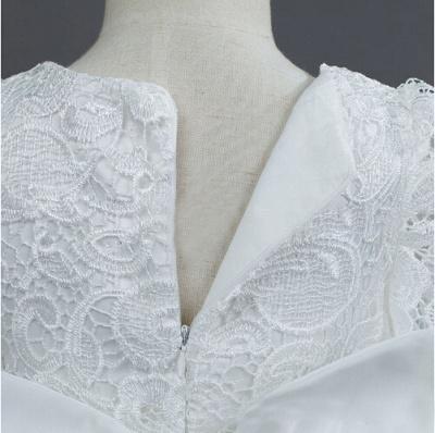 Lovely Tulle Lace Flower Girl Dress Bowknot Long Sleeve Zipper_5