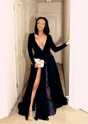 Black prom Dress UK, v-neck long evening gowns BA8234_1