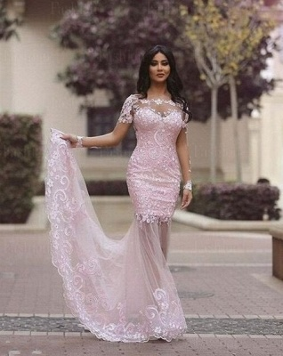 Luxury Long Sleeve Lace Appliques Evening Dress UK Mermaid Sheer Skirt Prom Gown_1