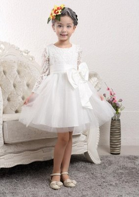 Lovely Tulle Lace Flower Girl Dress Bowknot Long Sleeve Zipper_1