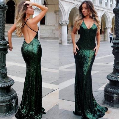 Open Back Sexy Formal Evening Dresses Cheap  Mermaid Sequins Prom Dress UK BA3586_6