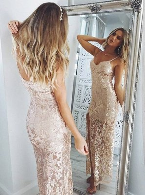 Spaghetti-Straps Sequins Prom Dress UK | Long Evening Gowns With Slit_3