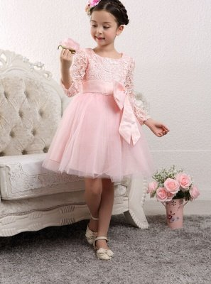 Lovely Tulle Lace Flower Girl Dress Bowknot Long Sleeve Zipper_3
