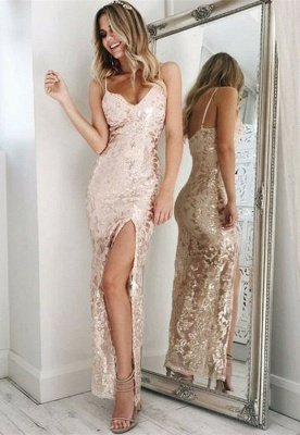 Spaghetti-Straps Sequins Prom Dress UK | Long Evening Gowns With Slit_1