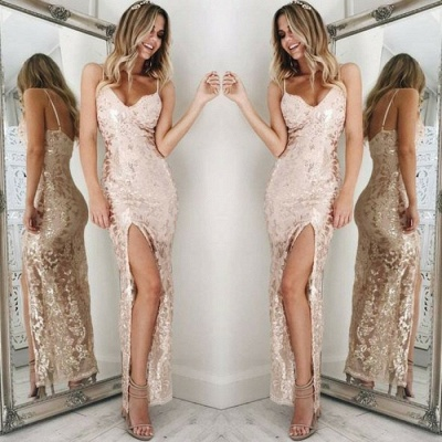 Spaghetti-Straps Sequins Prom Dress UK | Long Evening Gowns With Slit_4