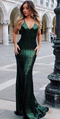 Open Back Sexy Formal Evening Dresses Cheap  Mermaid Sequins Prom Dress UK BA3586_5