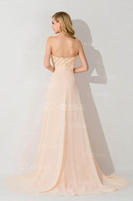 Gorgeous Strapless Flower Chiffon Bridesmaid Dress UK Sweep Train_3