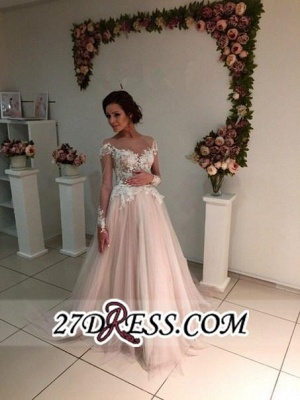 Delicate Lace A-line Appliques Tulle Sweep-Train Long-Sleeve Bridal Dress_2