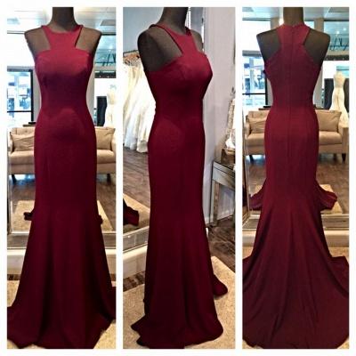 Sexy Sleeveless Burgundy prom Dress UKes UK Mermaid Floor Length Zipper Back_3