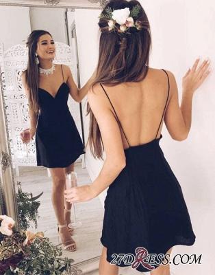 Backless Short Stylish Chic V-neck Black Spaghetti-Straps Cocktail Dress UK_1