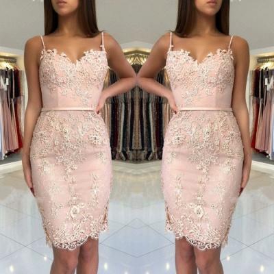 Spaghetti-Straps Sweetheart Short Prom Dress UK   Mermaid Lace Appliques Homecoming Dress UK BA9829_3