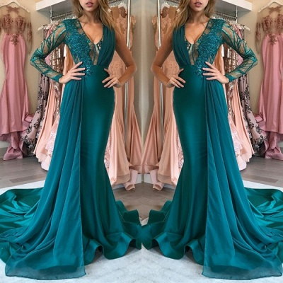 Green Long-Sleeve Prom Dress UK | Chiffon Long Evening Gowns With Appliques_3