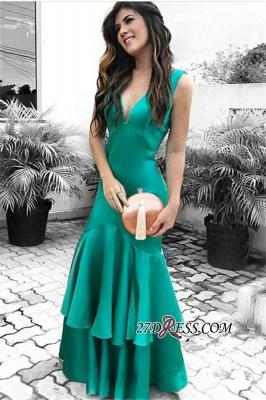 Elegant Open Back Ruffles Prom Dress UK | Sleeveless Green Evening Dress UKes UK_3