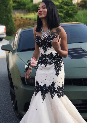 Black Lace Prom Dress UK   Mermaid Evening Gowns With Beadings_4