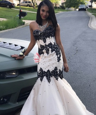 Black Lace Prom Dress UK   Mermaid Evening Gowns With Beadings_1