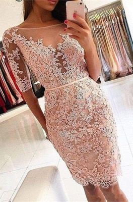 Sexy Half-Sleeve 2019 Homecoming Dress UK | Short Party Dress UK With Lace Appliques_1