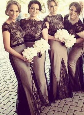Newest Lace Mermaid Bridesmaid Dress UK Cap Sleeve Floor-length_1