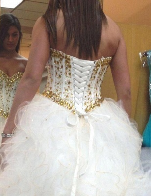 Fabulous Sweetheart Golden Crystal Wedding Dress Tulle Princess Bridal Gowns_3