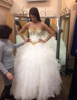Fabulous Sweetheart Golden Crystal Wedding Dress Tulle Princess Bridal Gowns_5